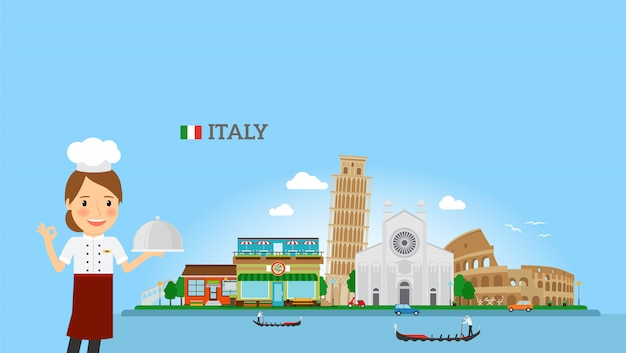 Italienischer küchehintergrund mit frauenchef Premium Vektoren
