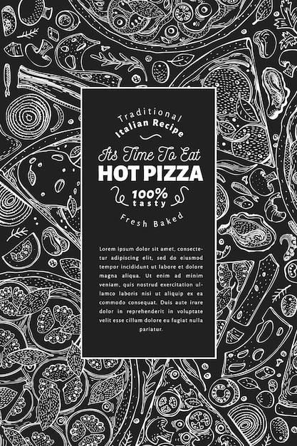 Italienischer pizza- und zutatenrahmen. italienisches essen banner designvorlage Premium Vektoren