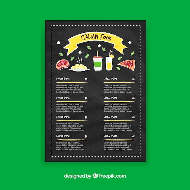 Italienisches Essen Menüvorlage | Download der kostenlosen Vektor