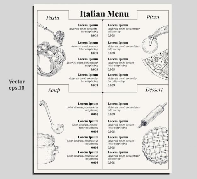 Italienisches lebensmittelmenü aus verschiedenen teigwaren, pizza, suppe und nachtisch. Premium Vektoren