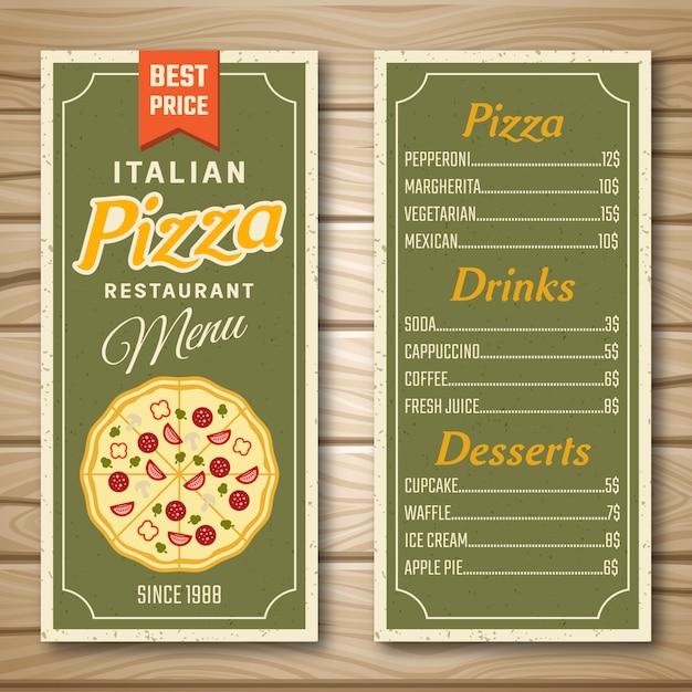 Italienisches pizza restaurant menü Kostenlosen Vektoren
