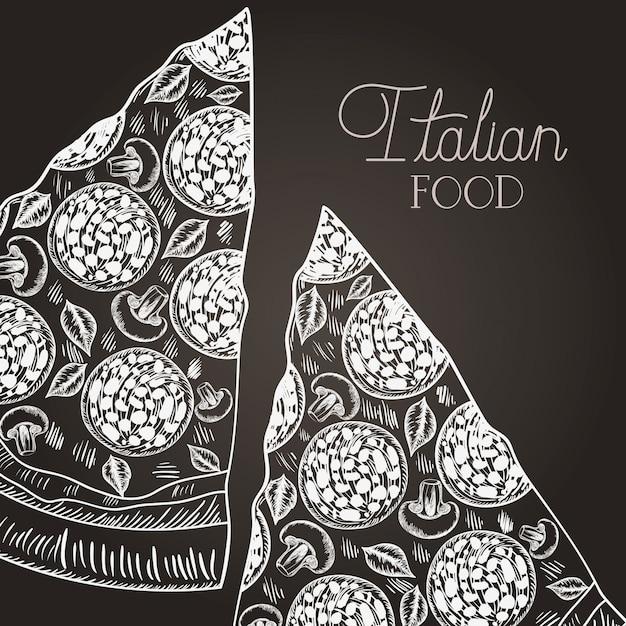 Italienisches pizzateil gezeichnetes italienisches lebensmittel Premium Vektoren