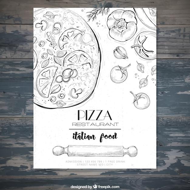 Italienisches restaurant broschüre mit pizza skizzen Kostenlosen Vektoren