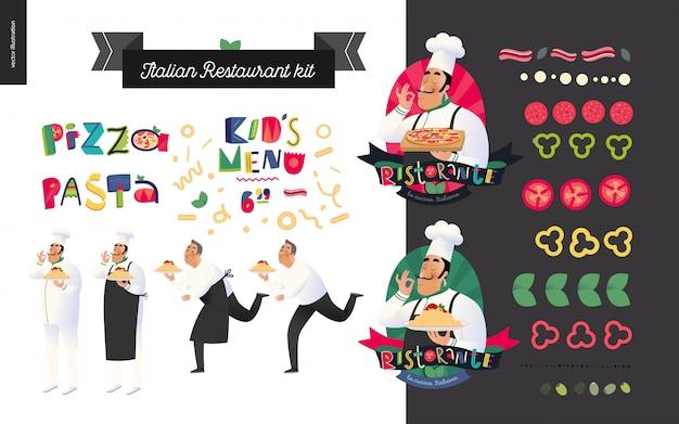 Italienisches restaurant eingestellt Premium Vektoren