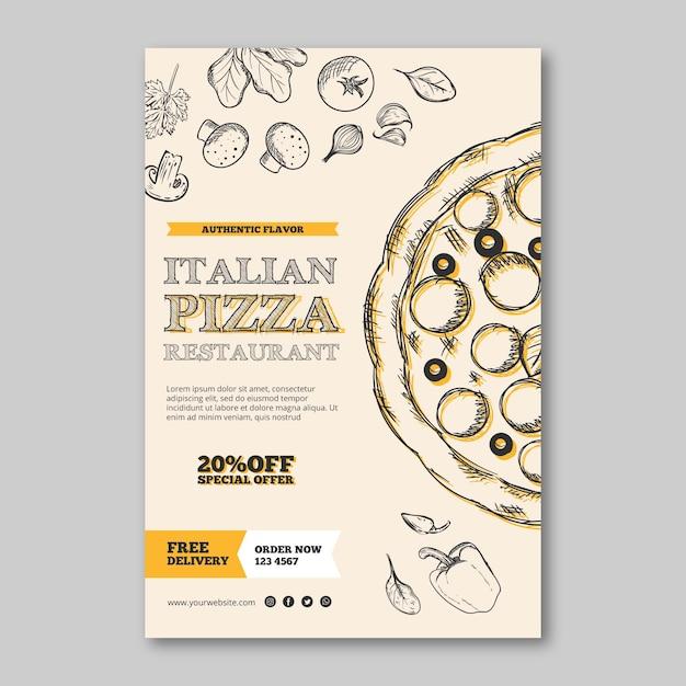Italienisches restaurantschablonenplakat Kostenlosen Vektoren