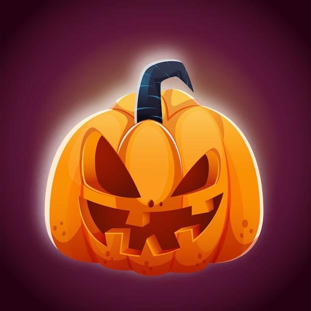 Jack-o-lantern illustration auf lila hintergrund Premium Vektoren