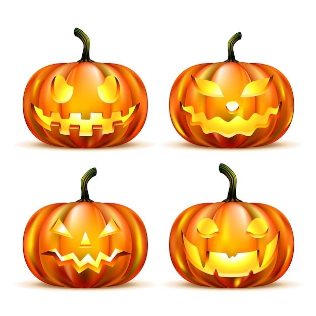 Jack o-lantern pumpkins isoliert Kostenlosen Vektoren