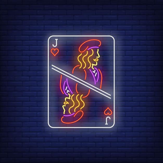 Jack of hearts spielkarte leuchtreklame. Kostenlosen Vektoren