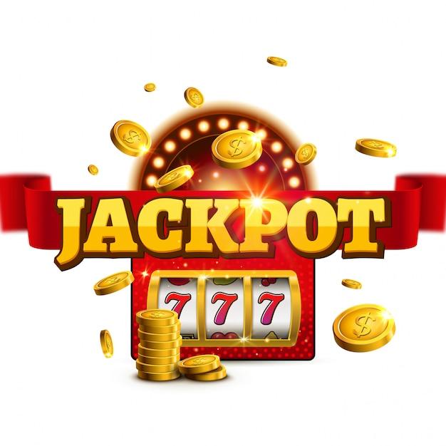 Jackpot hintergrund casino slot gewinner zeichen. big game geld banner 777 bingo maschine design Premium Vektoren