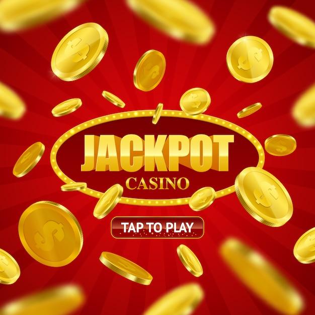 Jackpot-kasino-on-line-hintergrund-design Kostenlosen Vektoren