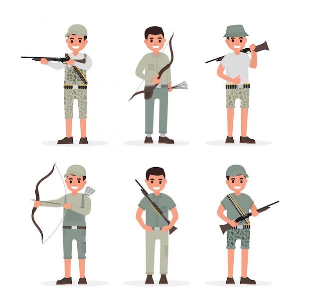 Jäger, jäger, wildhüter, förster und bogenschütze Premium Vektoren