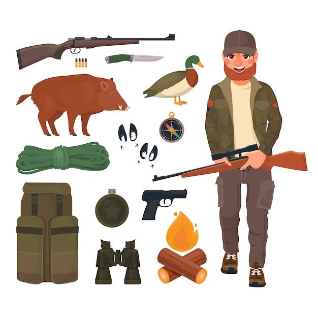 Jäger mit gewehr im cartoon-stil Premium Vektoren
