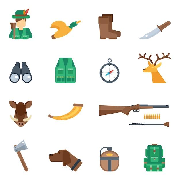 Jagd icons set Kostenlosen Vektoren