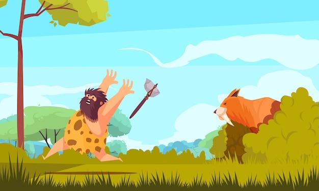 Jagd in der bunten illustration der steinzeit mit prähistorischem mann, der vom großen tierkarikatur läuft Kostenlosen Vektoren