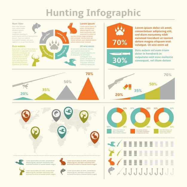 Jagd Tiere Wildlife Fishing Infografiken Mit Diagrammen