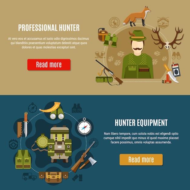 Jagdausrüstung banner set Premium Vektoren