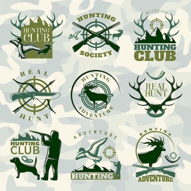 Jagdemblem in farbe gesetzt mit jagdverein jagdgesellschaft und echten jagdbeschreibungen Kostenlosen Vektoren