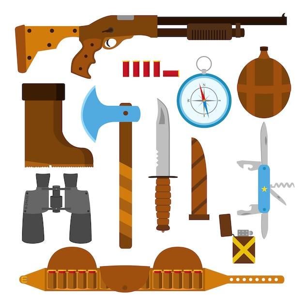 Jagdikonenebenensatz mit messer, axt, schrotflinte, fall, feuerzeug, stiftmesser, kompass Premium Vektoren