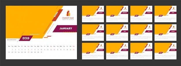 Jahr 2019, kalender-design mit abstrakten elementen. Premium Vektoren