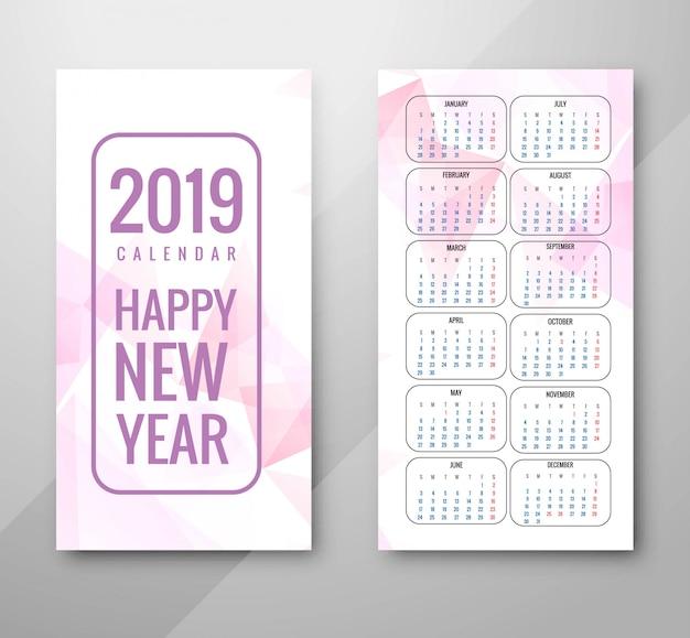 Jahr 2019, kalenderdesign Kostenlosen Vektoren