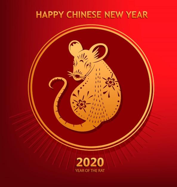 Jahr der ratte, chinesisches neujahr 2020 Premium Vektoren