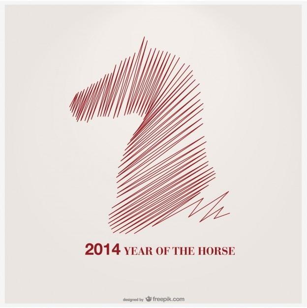 Jahr des pferdes vektor-design Kostenlosen Vektoren