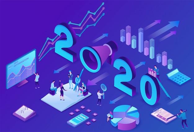 Jahr marketingplan, social media isometrische 3d Premium Vektoren
