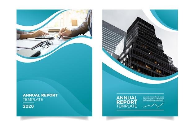 Jahresbericht mit menschen und gebäuden Premium Vektoren