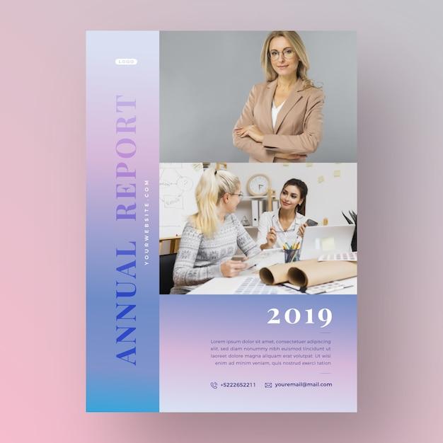 Jahresbericht vorlage konzept mit foto Kostenlosen Vektoren