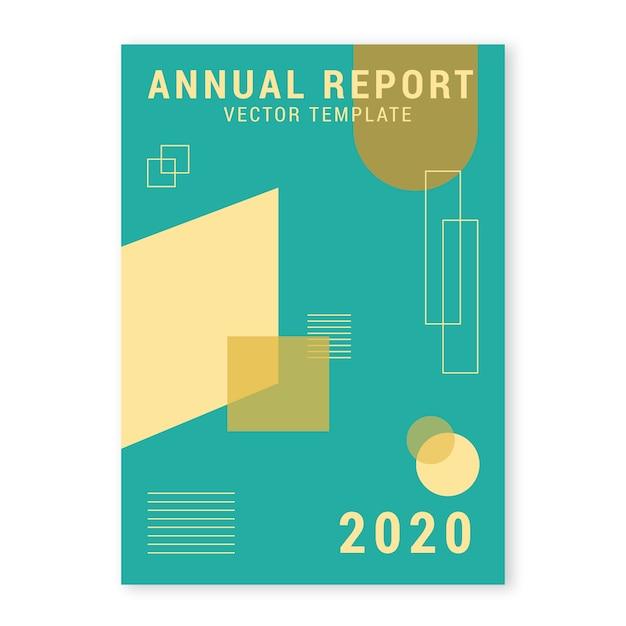 Jahresbericht vorlage mit geometrischen formen Kostenlosen Vektoren