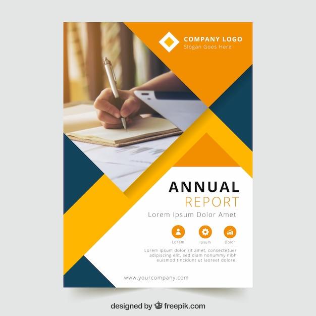 Jahresberichtdesign mit Foto Kostenlose Vektoren