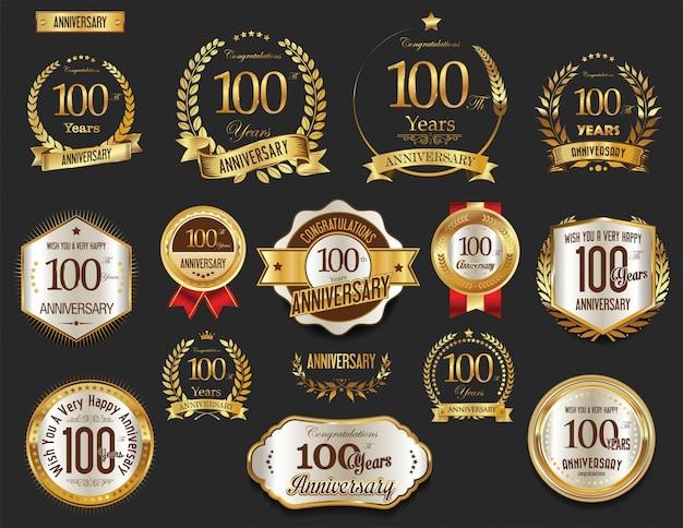 Jahrestag goldene etiketten sammlung Premium Vektoren