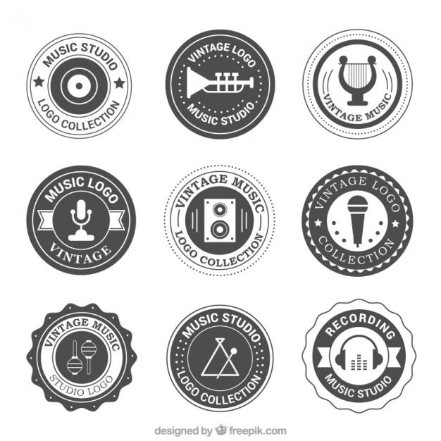 Jahrgang abgerundeten logos von musik-studio Kostenlosen Vektoren