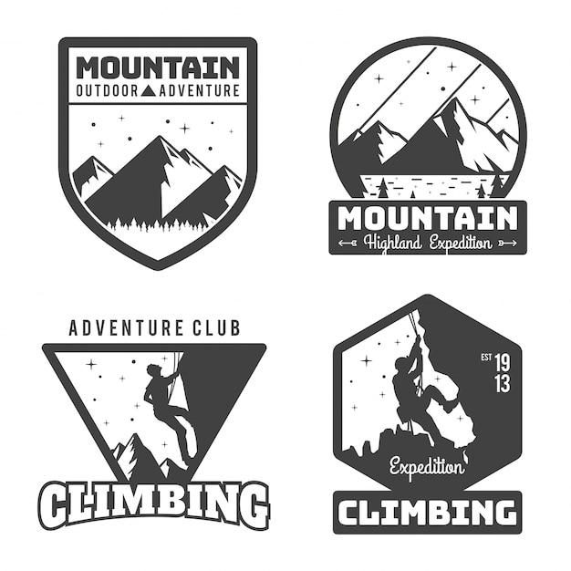 Jahrgang monotone bergsteigen logo abzeichen set Premium Vektoren