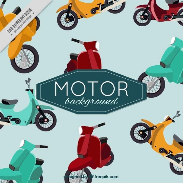 Jahrgang niedlich hintergrund von motorroller Kostenlosen Vektoren