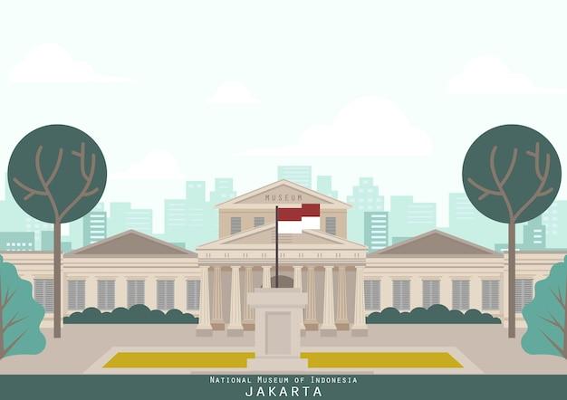 Jakarta indonesien gebäude wahrzeichen Premium Vektoren