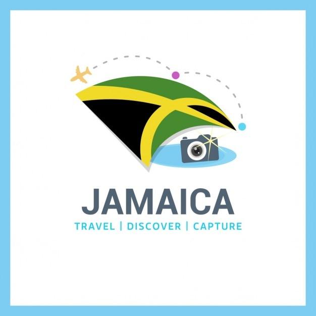 Jamaika-flaggen-reise-logo Kostenlosen Vektoren