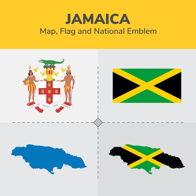 Jamaika Karte, Flagge und National Emblem | Download der Premium Vektor