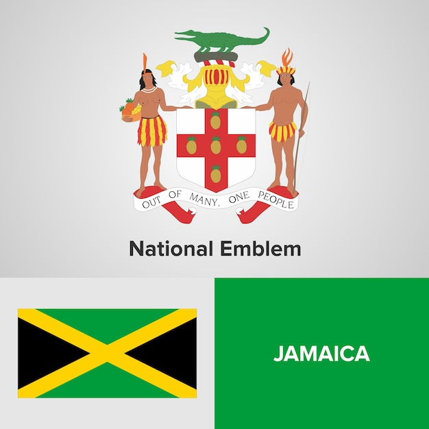 Jamaika National Emblem und Flagge | Download der Premium Vektor