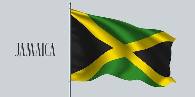 Jamaika weht flagge auf fahnenmast. Premium Vektoren
