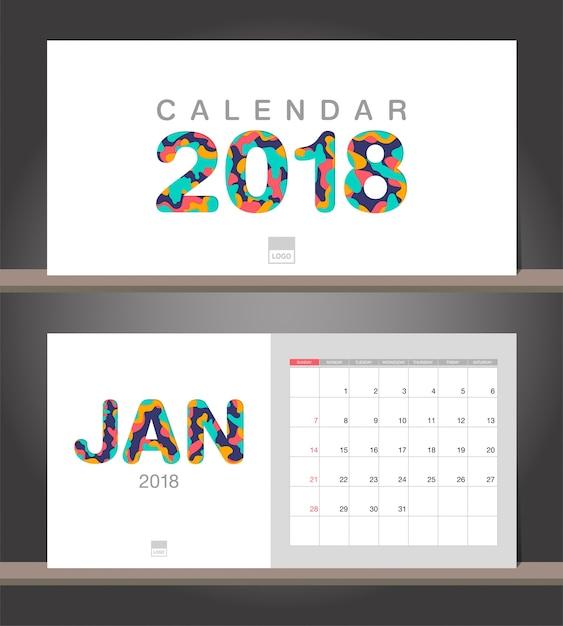 Januar 2018 Kalender. Tischkalender moderne Design-Vorlage mit ...