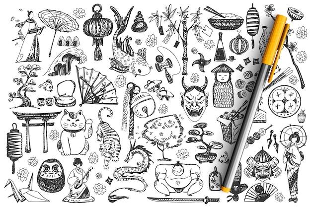 Japan doodle set. Premium Vektoren