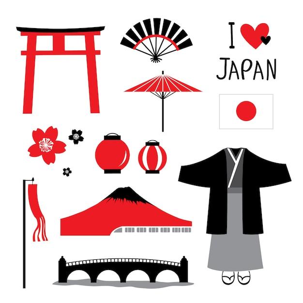Japan flat icons design reise set Premium Vektoren