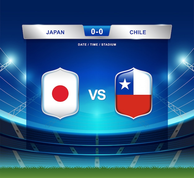 Japan gegen chile-anzeigetafel sendete fußball copa america Premium Vektoren