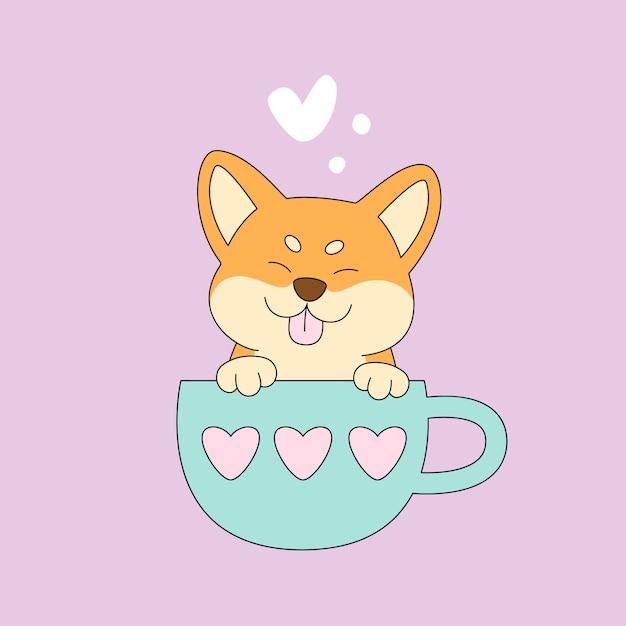 Japan-hund shiba inu in der schale Premium Vektoren