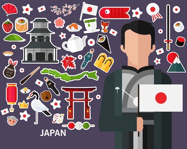 Japan-konzepthintergrund. flache ikonen Premium Vektoren