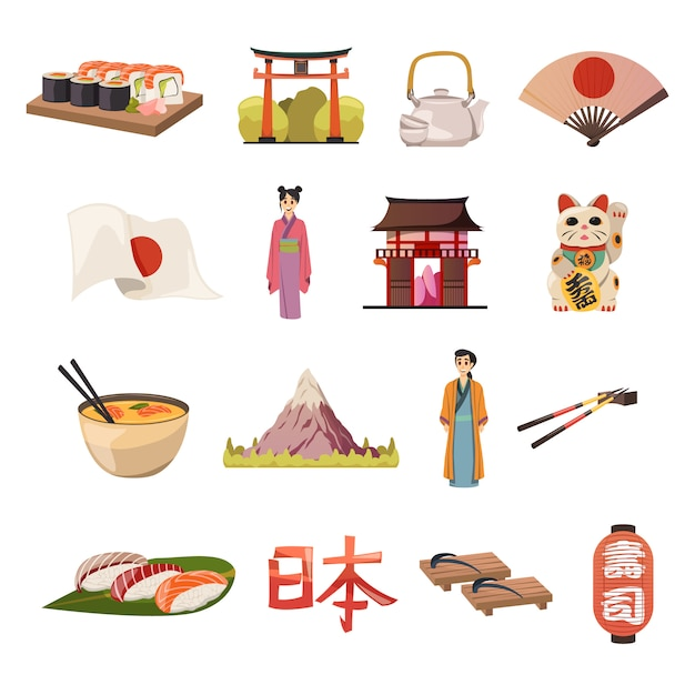 Japan-kultur-nahrungsmittelorthogonale ikonen Kostenlosen Vektoren