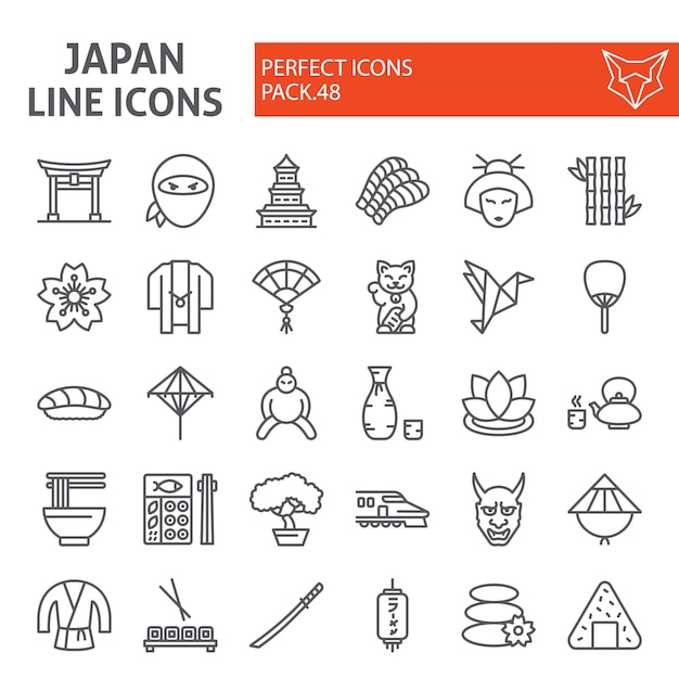 Japan linie icon-set Premium Vektoren