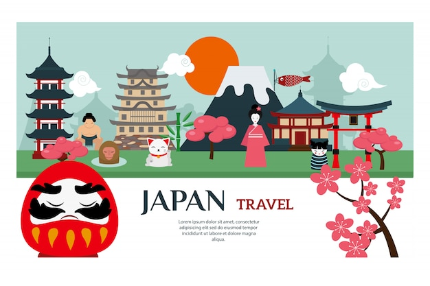 Japan-marksteinreise-vektorplakat Premium Vektoren