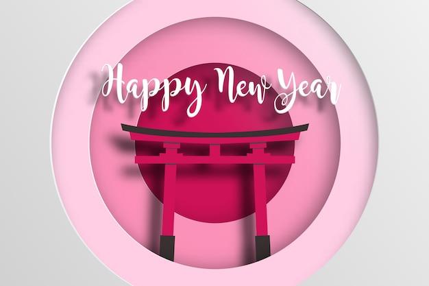 Japan neujahrsplakat mit fushimi inari taisha. Premium Vektoren